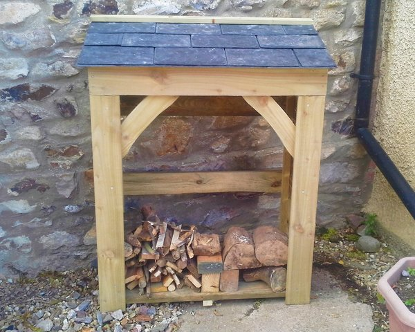 Handy Store - 900mm / 3' log store with slate roof