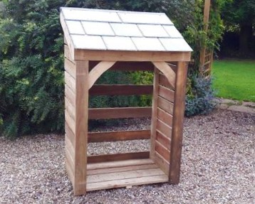 "Medium Store - 1000mm / 3'3"" log store with natural slate roof"