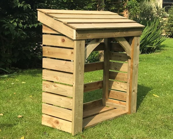 Medium Plus Store - 1250mm / 4' log store with timber roof