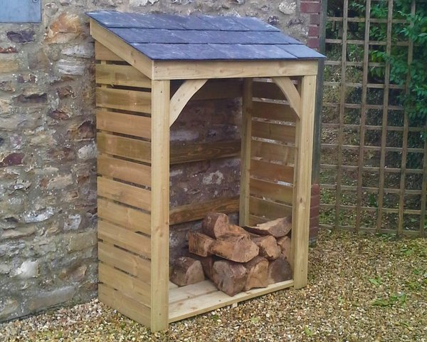 Medium Plus Store - 1250mm / 4' log store with natural slate roof