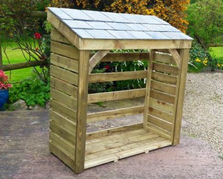 Large Store - 1500mm / 5' log store with natural slate roof