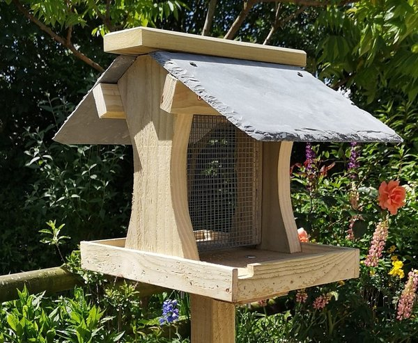 Bird Feeding Table with natural slate roof and easy-fill peanut feeder
