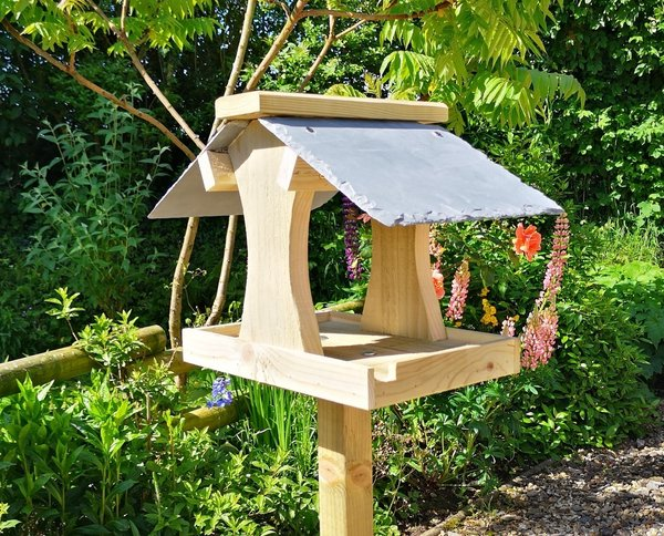 Bird Feeding Table with natural slate roof