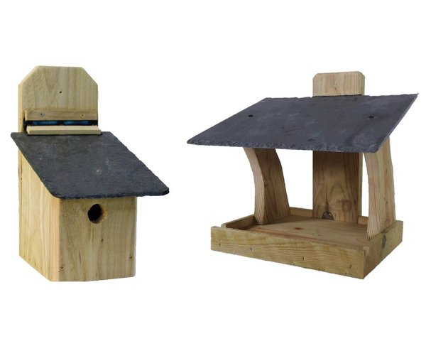 HEAVY DUTY Rustic bird feeder  & Nesting box with NATURAL SLATE ROOF