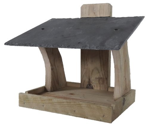 HEAVY DUTY Rustic bird feeder with NATURAL SLATE ROOF