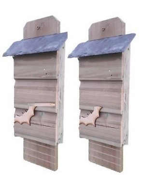 Bat Box with natural slate roof - Set of 2